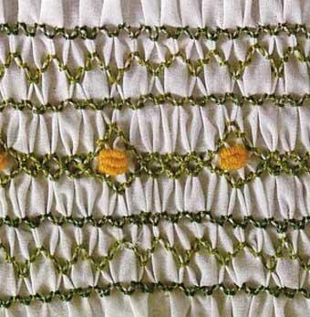 Bordado a punto de nido de abeja con hilos visibles en la primera